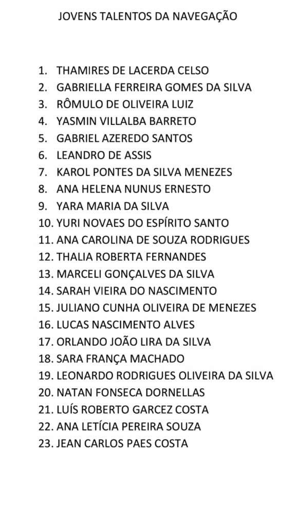 lista de classificação agente marítimo 2019